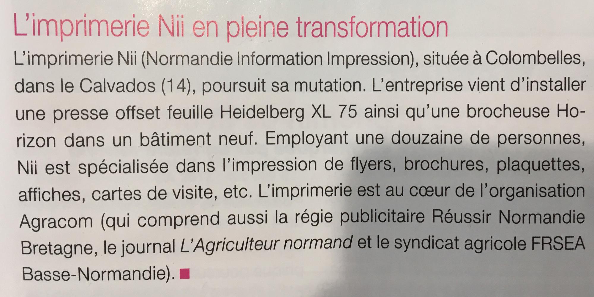 Article imprimerie Nii